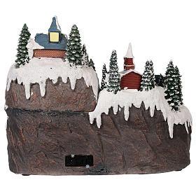 Village Noël piste de patinage manège mouvement lumières musique 40x30x30 cm s5