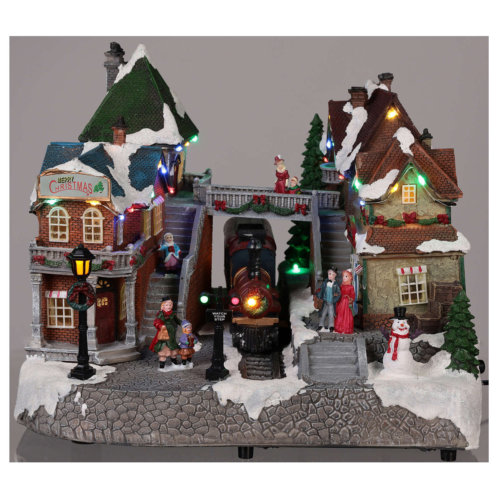 Christmas village train station with moving elements, lights and music 25x35x25 cm 3