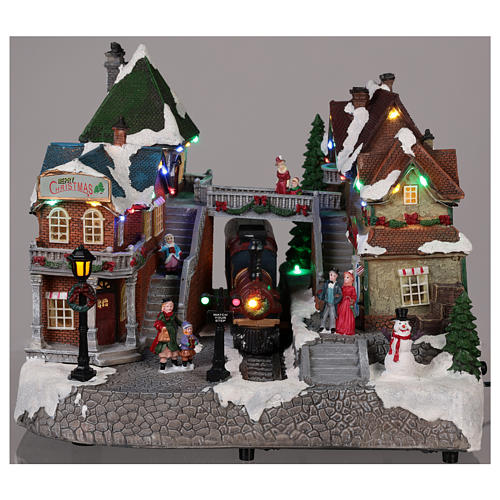 Christmas village train station with moving elements, lights and music 25x35x25 cm 2