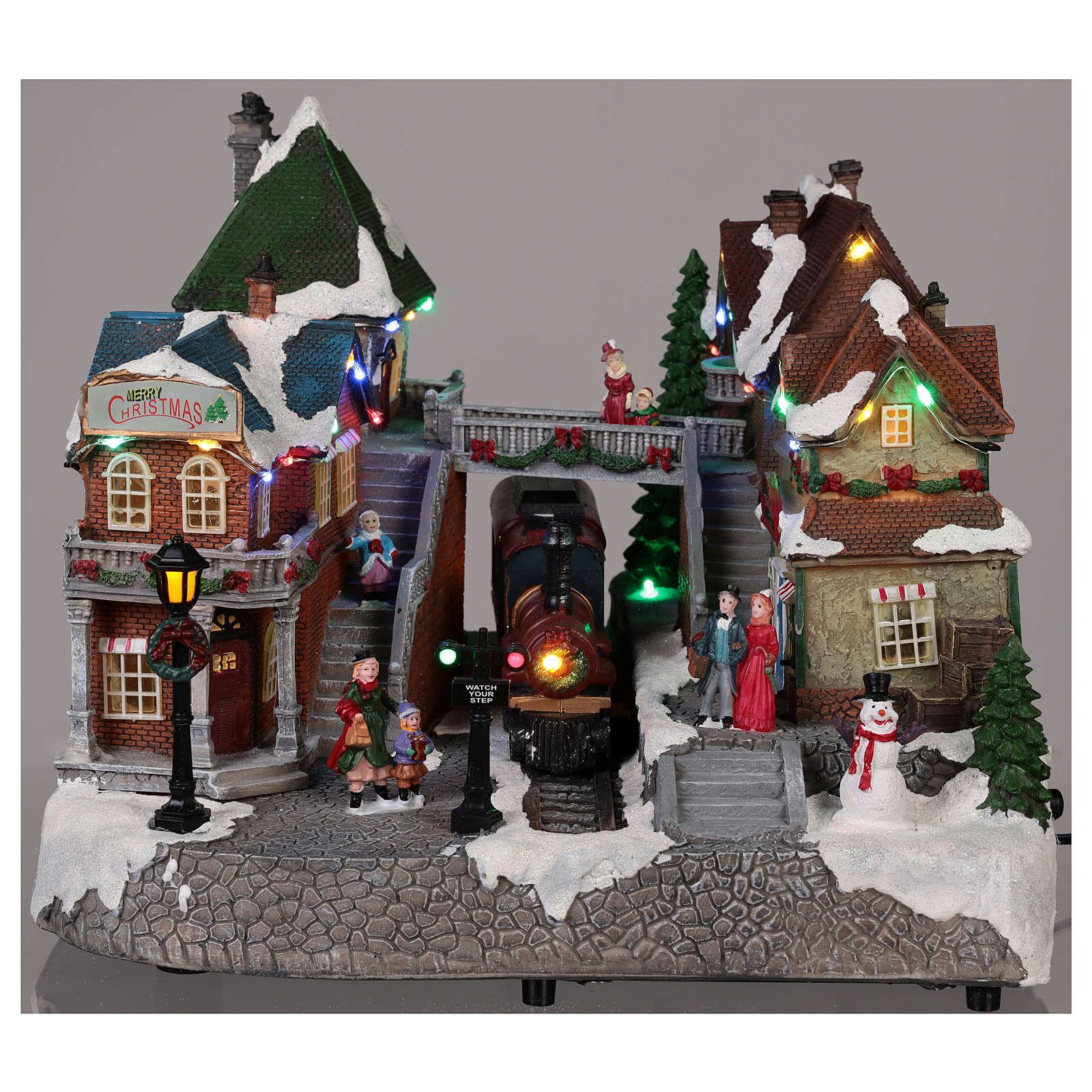 Village Noël gare mouvement lumières musique 25x35x25 cm 3