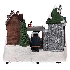 Village Noël gare mouvement lumières musique 25x35x25 cm s5