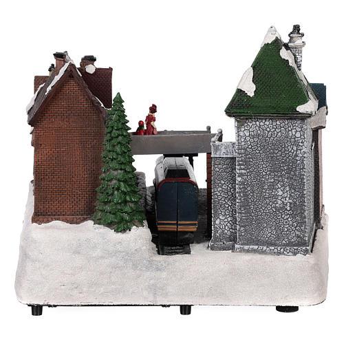 Village Noël gare mouvement lumières musique 25x35x25 cm 5