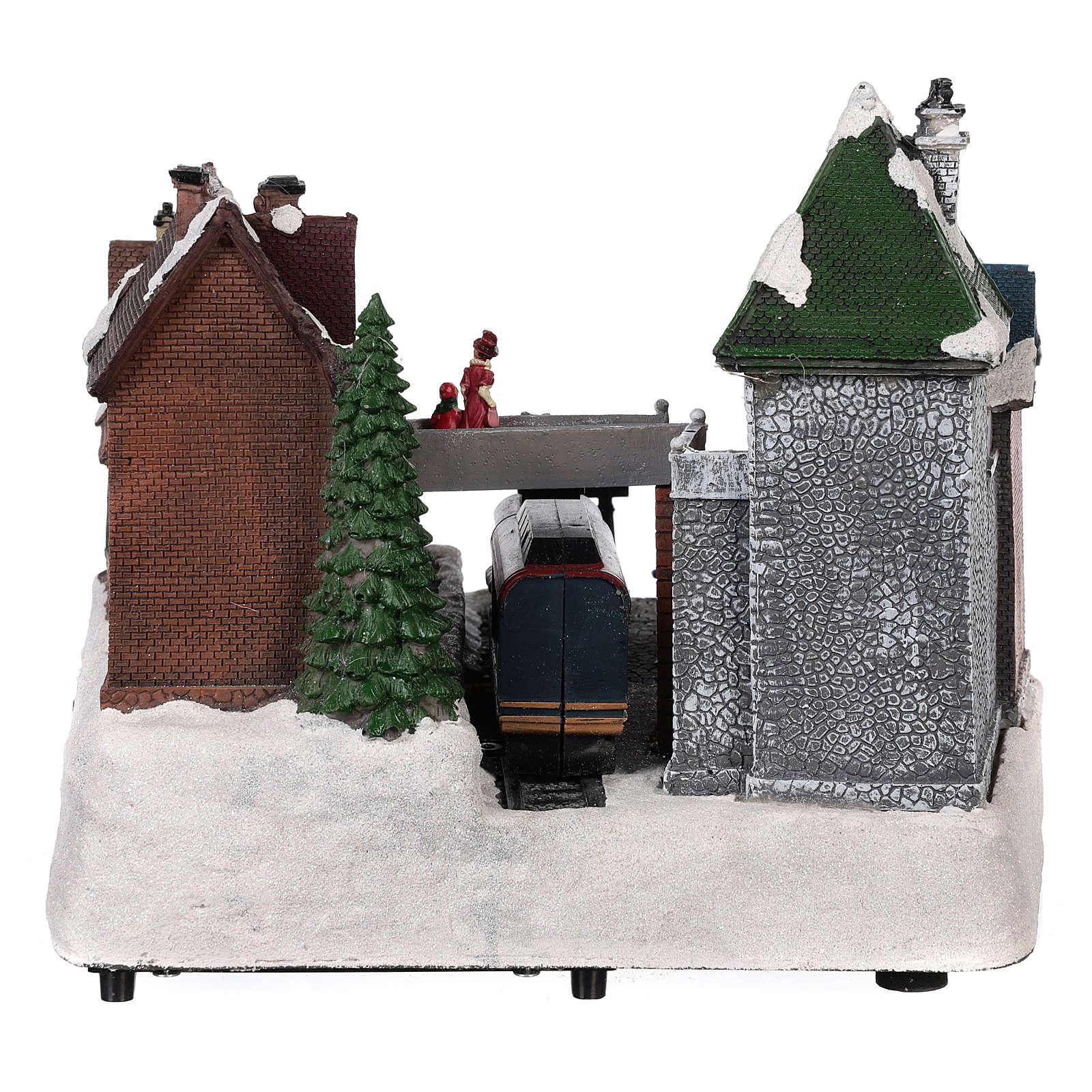Villaggio natalizio stazione ferrovia movimento luce musica 25x35x25 3