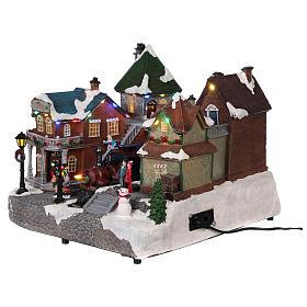 Villaggio natalizio stazione ferrovia movimento luce musica 25x35x25 s3