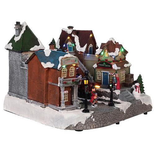 Villaggio natalizio stazione ferrovia movimento luce musica 25x35x25 4