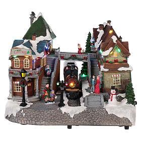 Cenários Natalinos em Miniatura: Cenário de Natal estação ferroviária movimento luzes música 25x35x25 cm