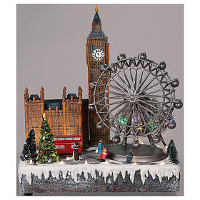 Christmas village London with moving elements, lights and music 35x20x25 cm s2