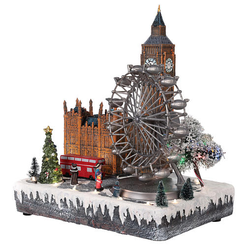 Christmas village London with moving elements, lights and music 35x20x25 cm 3