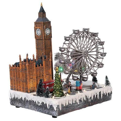 Christmas village London with moving elements, lights and music 35x20x25 cm 4
