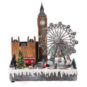 Villages de Noël miniatures: Village Noël Londres mouvement lumières musique 35x20x25 cm