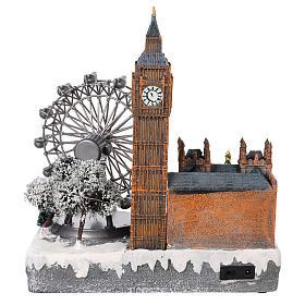 Villaggio natalizio Londra movimento luce musica 35x20x25 s5