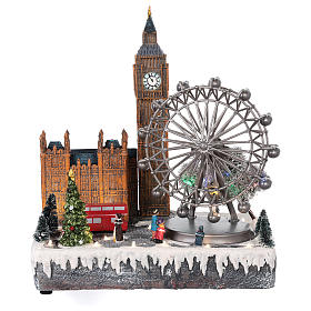 Cenários Natalinos em Miniatura: Cenário de Natal Londres movimento luzes música 35x30x25 cm