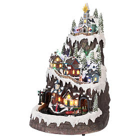 Christmas village with moving elements, lights and music 50x35x30 cm s3