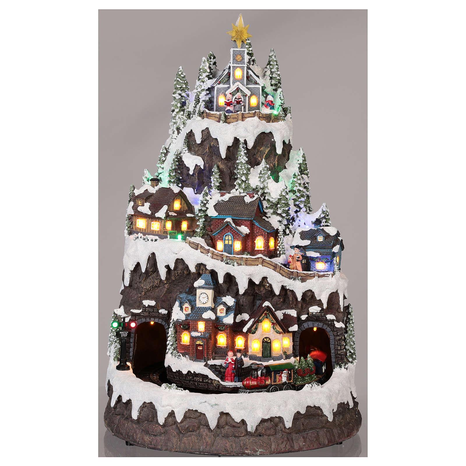 Village Noël montagne enneigé mouvement lumières musique 50x35x30 cm 3