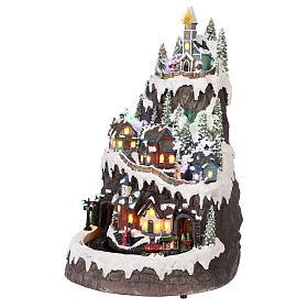 Village Noël montagne enneigé mouvement lumières musique 50x35x30 cm s3