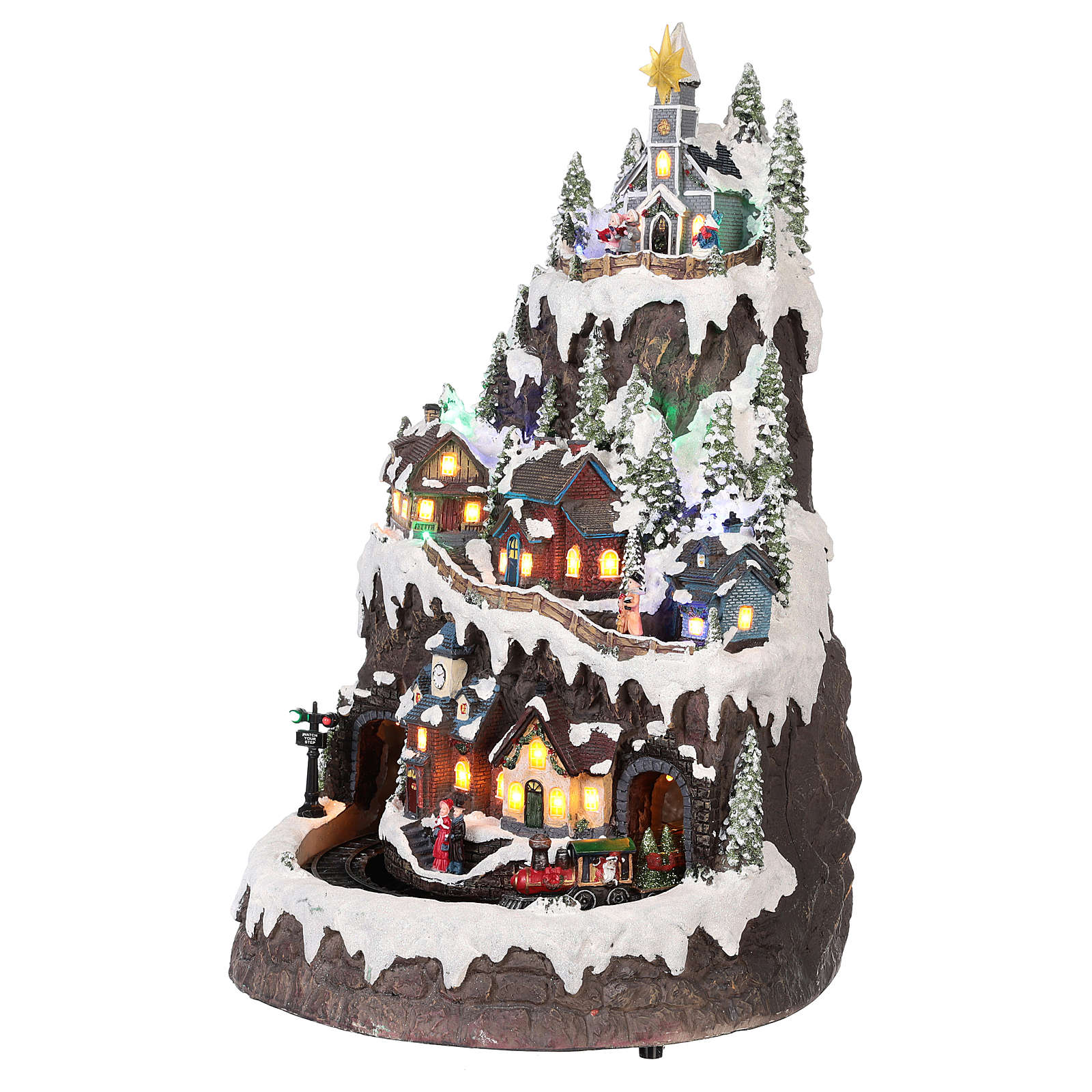 Villaggio natalizio montagna innevata movimento luce musica 50x35x30 3