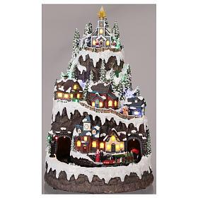 Villaggio natalizio montagna innevata movimento luce musica 50x35x30 s2