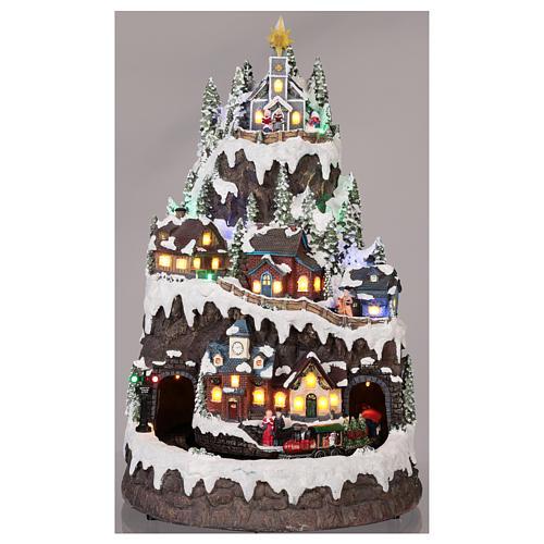 Villaggio natalizio montagna innevata movimento luce musica 50x35x30 2