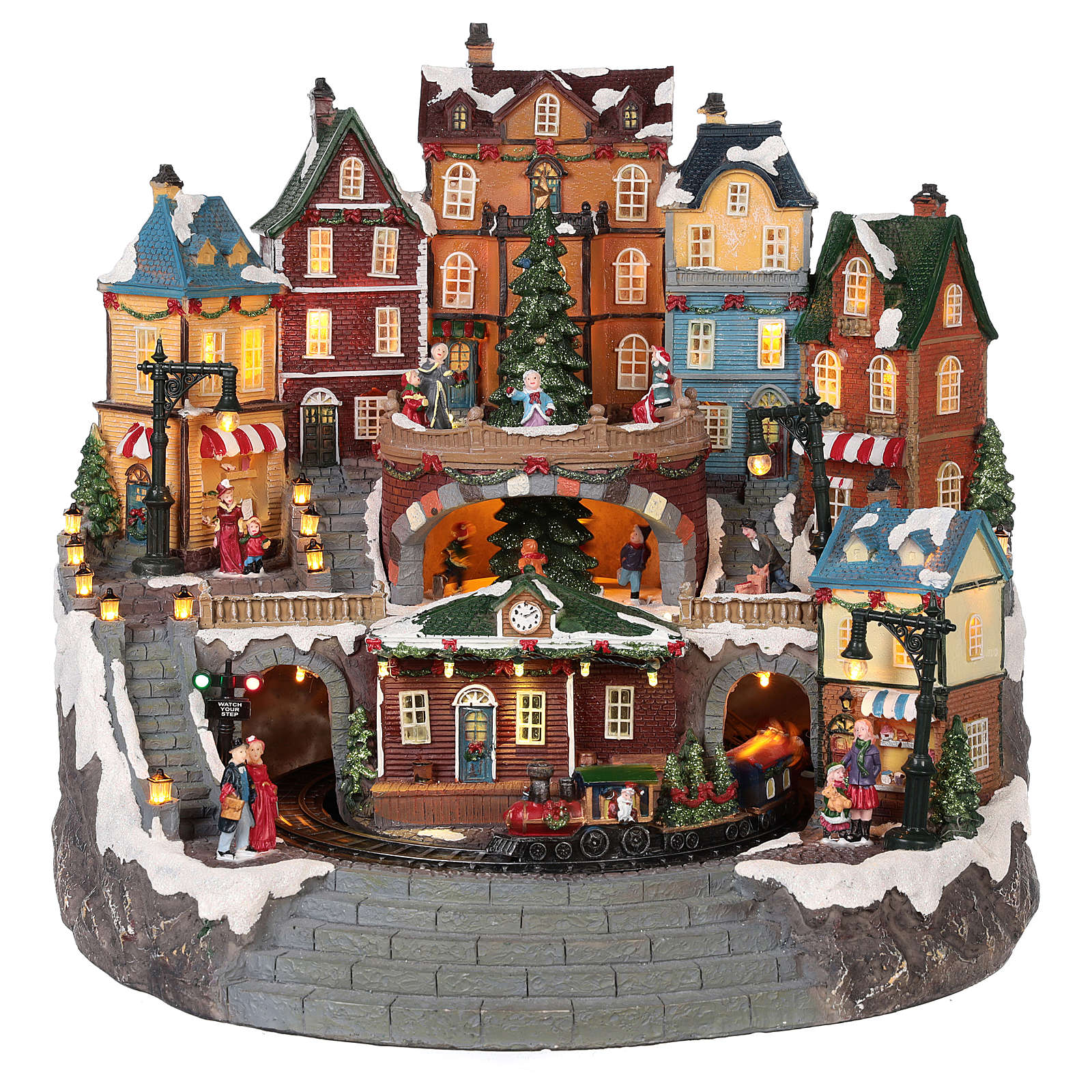Village Noël ville et train mouvement lumière musique 40x40x35 cm 3
