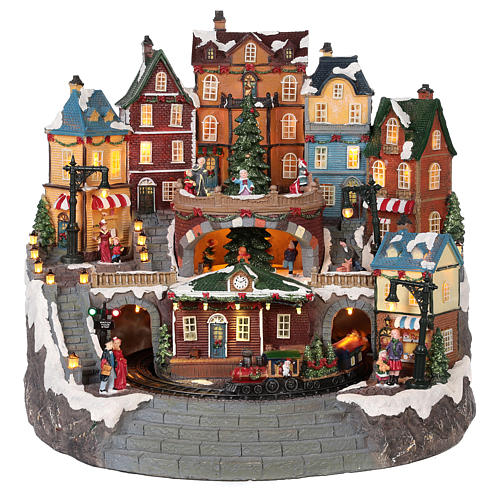 Village Noël ville et train mouvement lumière musique 40x40x35 cm 1