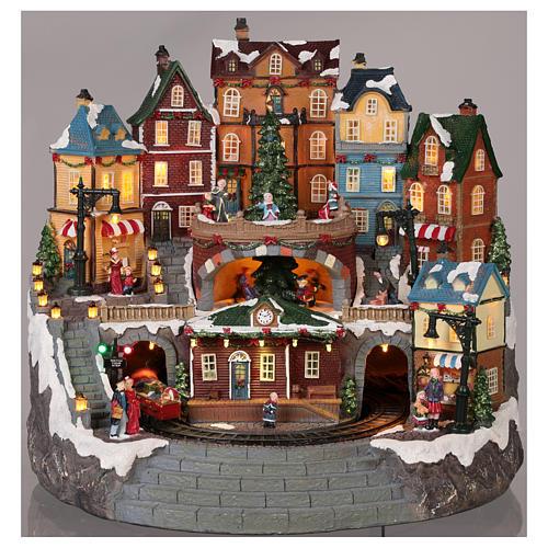 Village Noël ville et train mouvement lumière musique 40x40x35 cm 2