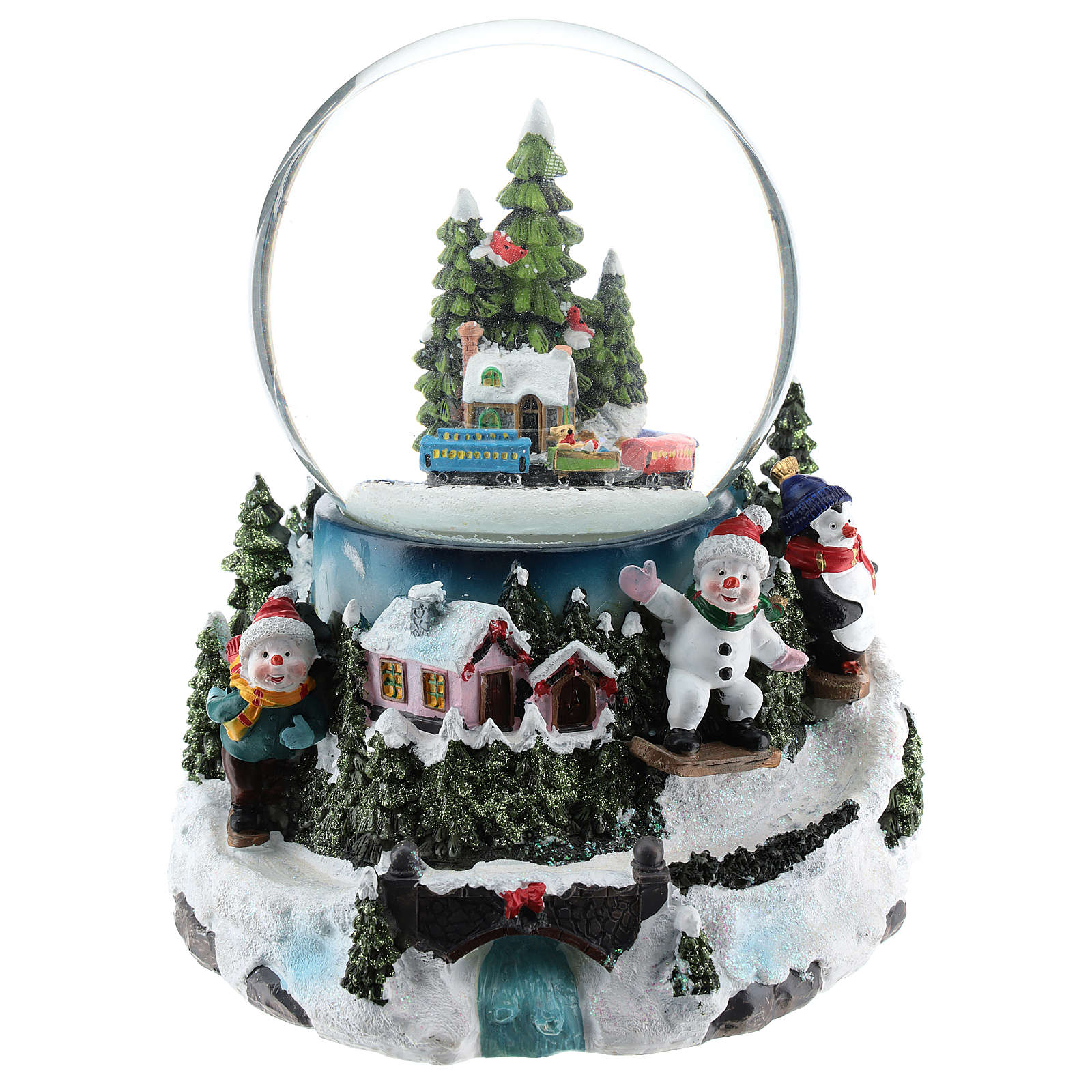 Christmas snow ball with village and train h. 17 cm 3