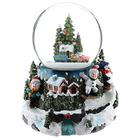Christmas snow globes: Christmas snow ball with village and train h. 17 cm