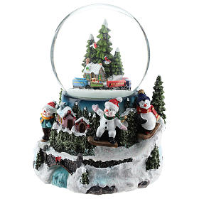 Christmas snow ball with village and train h. 17 cm s3