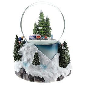 Christmas snow ball with village and train h. 17 cm s5