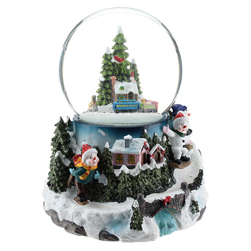 Christmas snow ball with village and train h. 17 cm 4