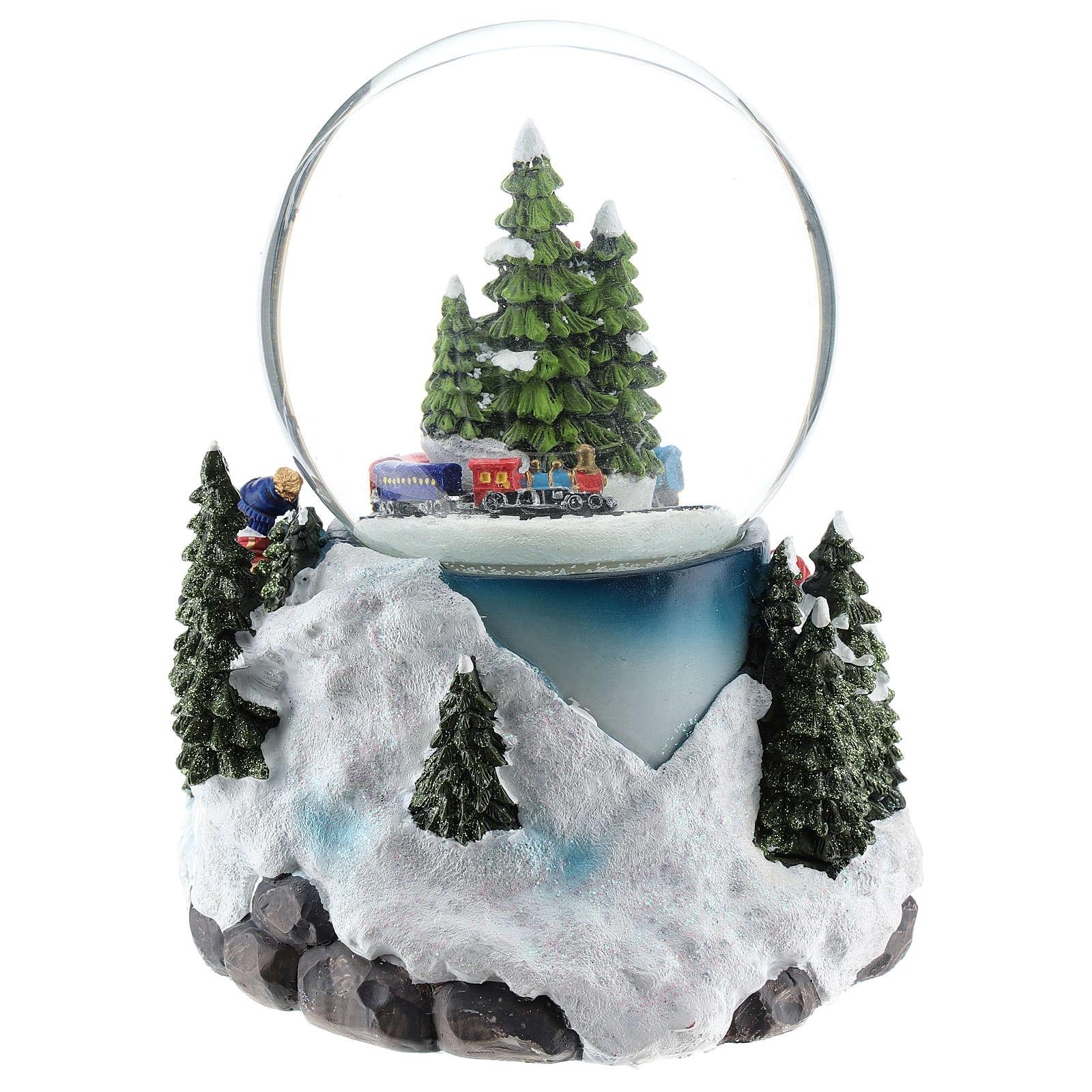 Globo de neve com aldeia e trem h 17 cm 3