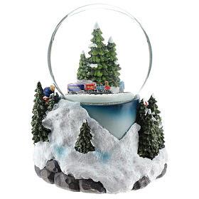 Globo de neve com aldeia e trem h 17 cm s5