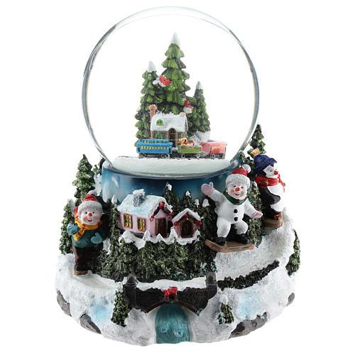 Globo de neve com aldeia e trem h 17 cm 1