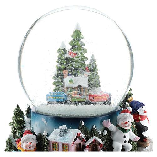 Globo de neve com aldeia e trem h 17 cm 2