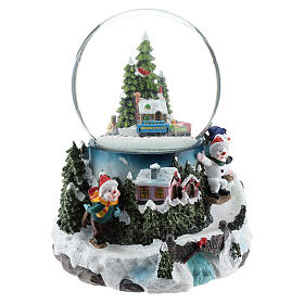 Snow globe with village and train h. 17 cm s4