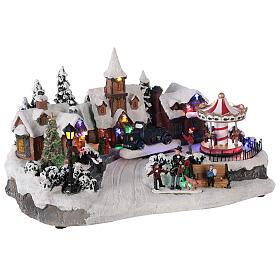 Pueblo invernal coche en movimiento música y luces 40x25x20 cm s4
