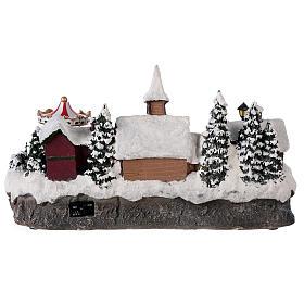Pueblo invernal coche en movimiento música y luces 40x25x20 cm s5
