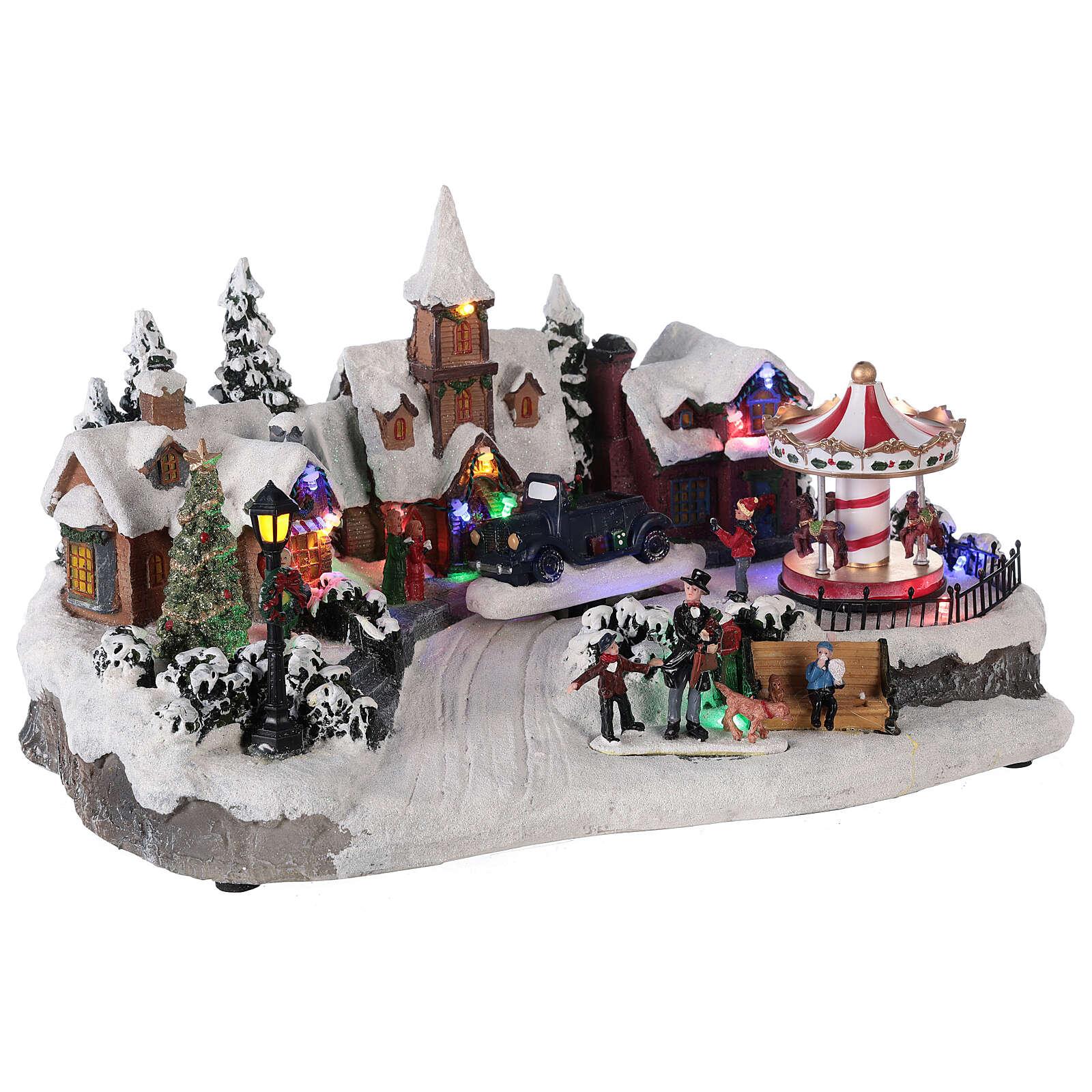 Villaggio invernale auto in movimento musica e luci 40x25x20 cm 3