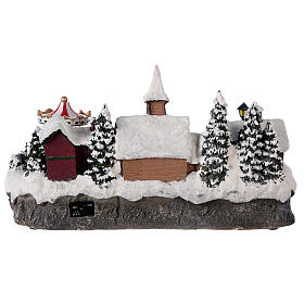 Christmas village with moving car music and lights 40x25x20 cm s5
