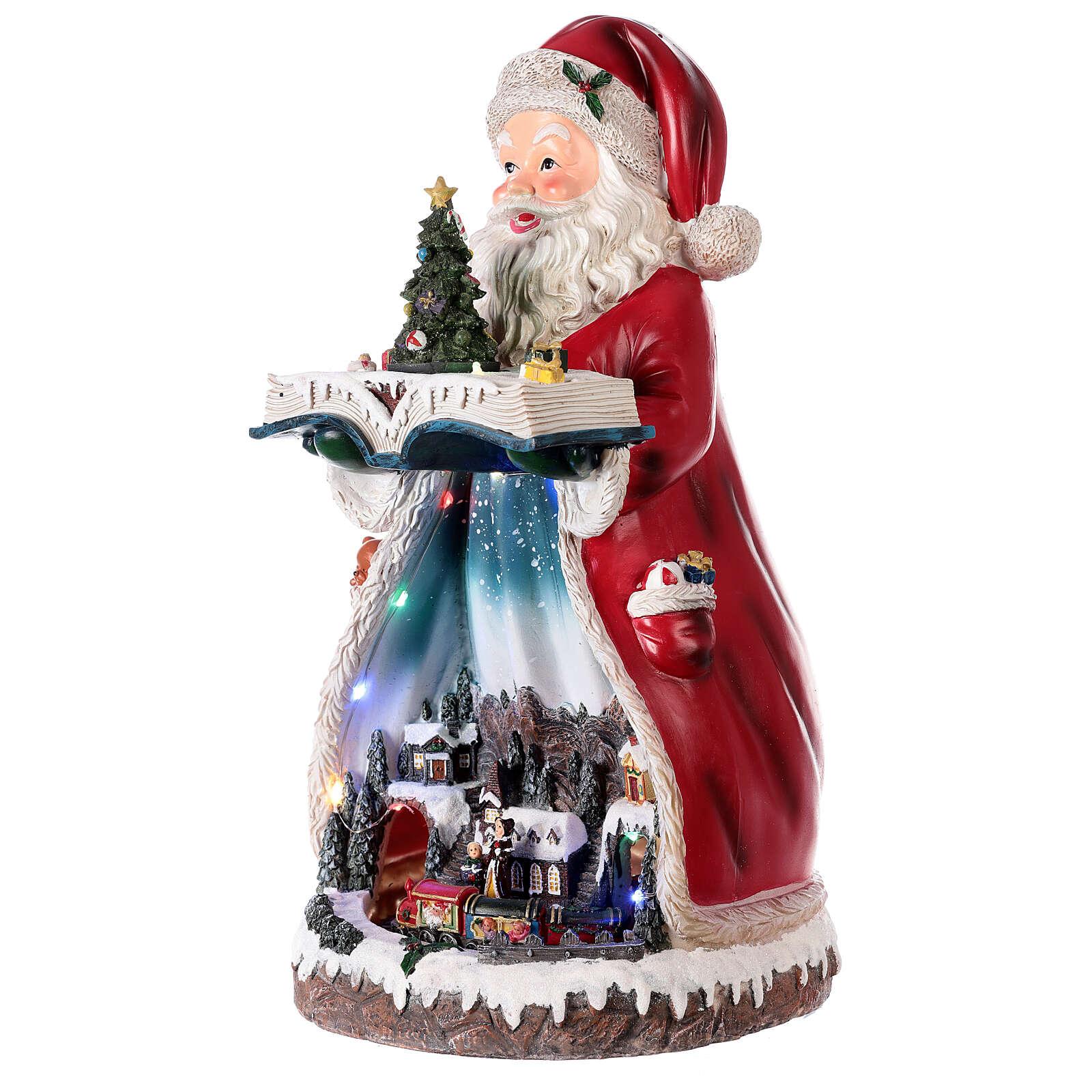 Santa Claus Christmas village music train station, 25x20x45 cm 3
