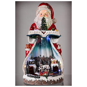 Santa Claus Christmas village music train station, 25x20x45 cm s2