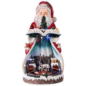 Santa Claus Christmas village music train station, 25x20x45 cm s1