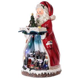 Santa Claus Christmas village music train station, 25x20x45 cm s3