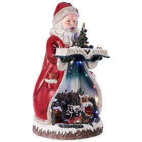 Santa Claus Christmas village music train station, 25x20x45 cm s4