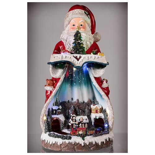 Santa Claus Christmas village music train station, 25x20x45 cm 2