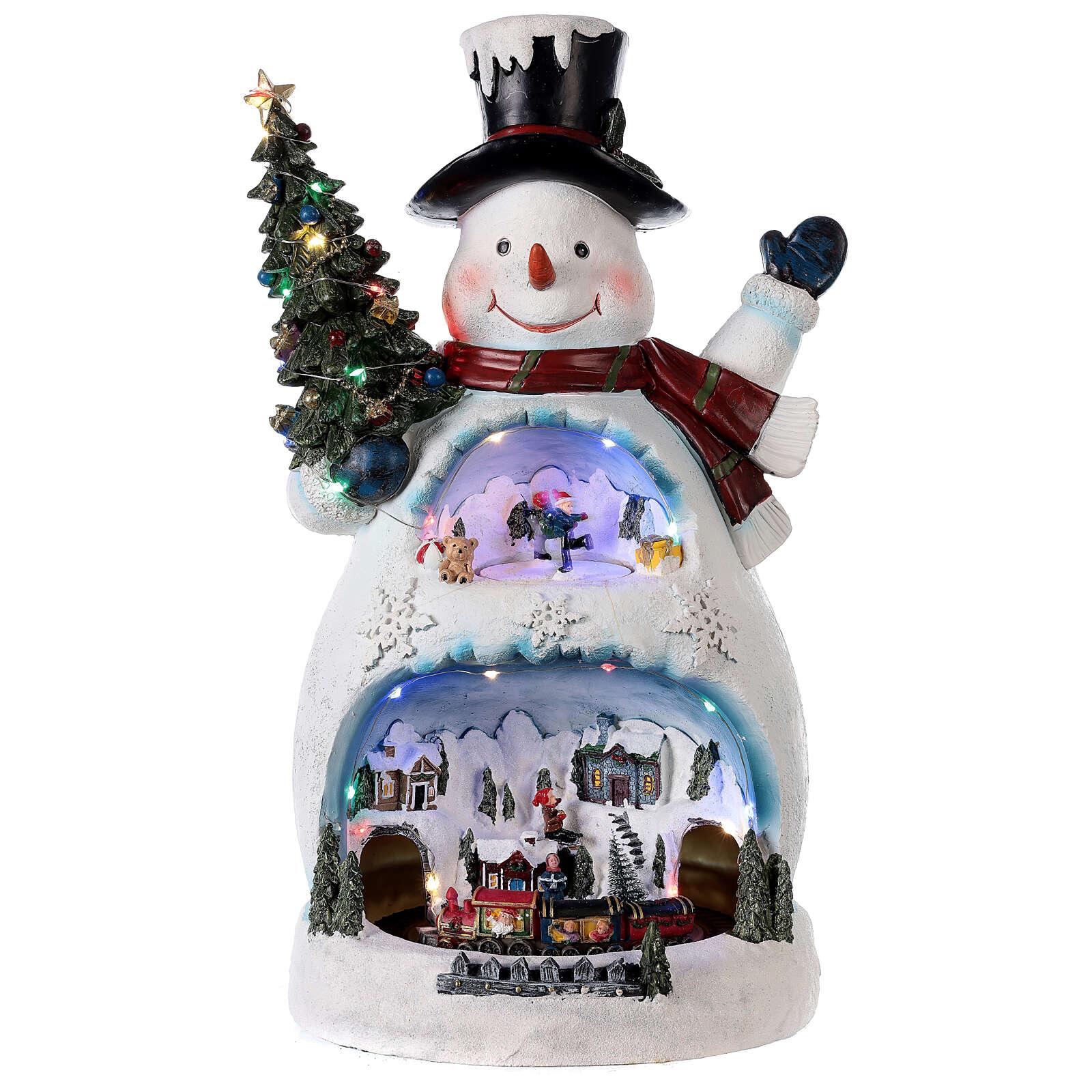 Schneemann mit Weihnachtsdorf und Zug, 45x20x25 cm 3