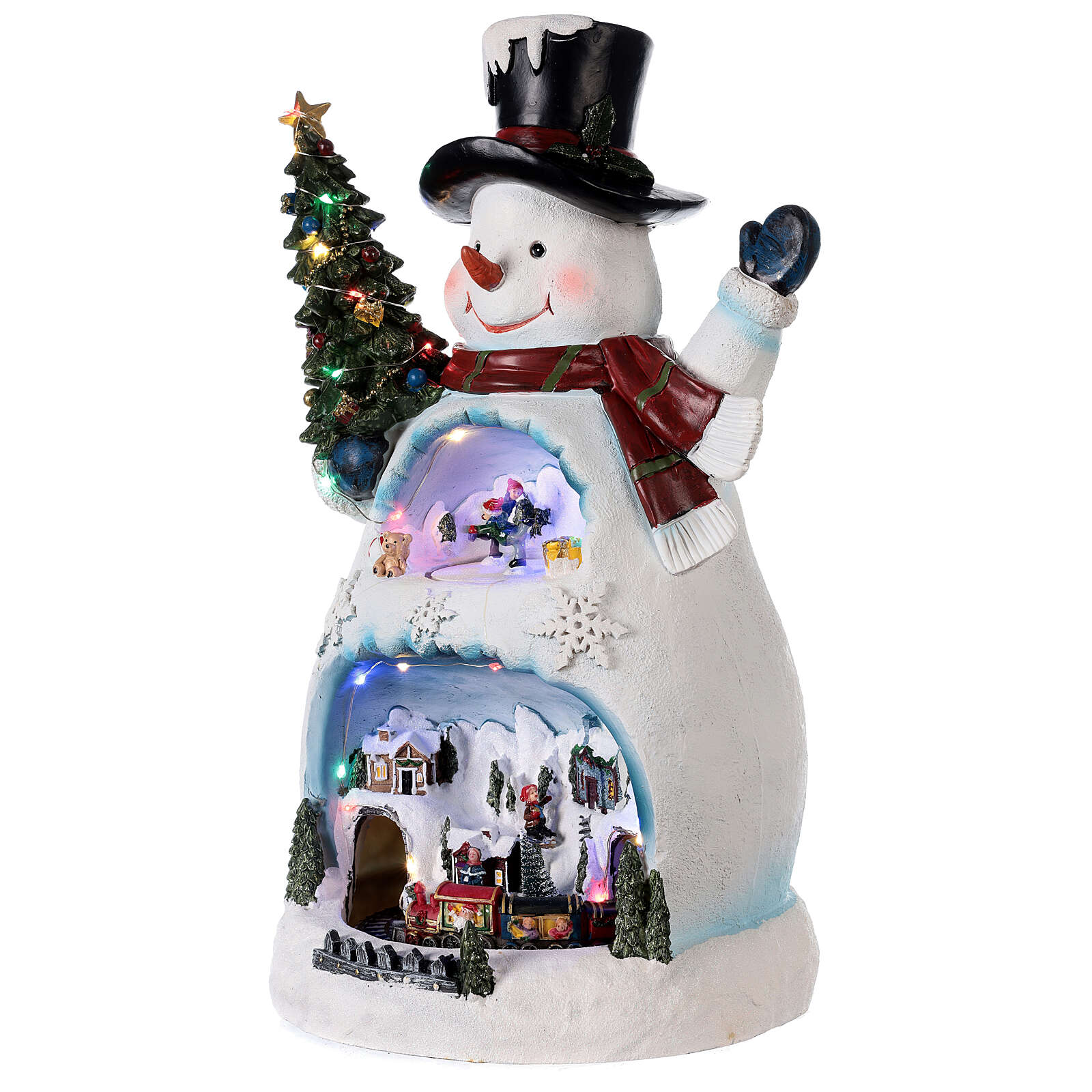 Bonhomme de neige Noël piste patinage et train 45x20x25 cm 3