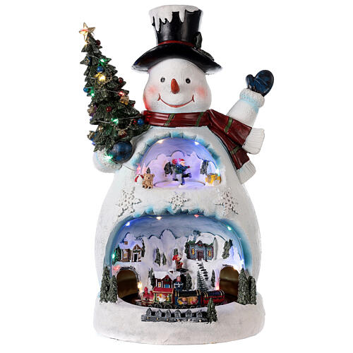 Bonhomme de neige Noël piste patinage et train 45x20x25 cm 1