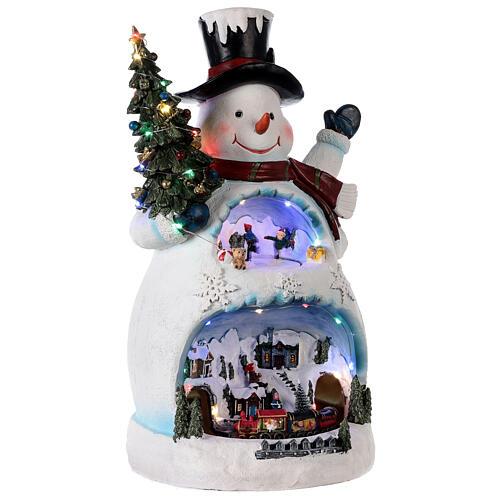 Bonhomme de neige Noël piste patinage et train 45x20x25 cm 4