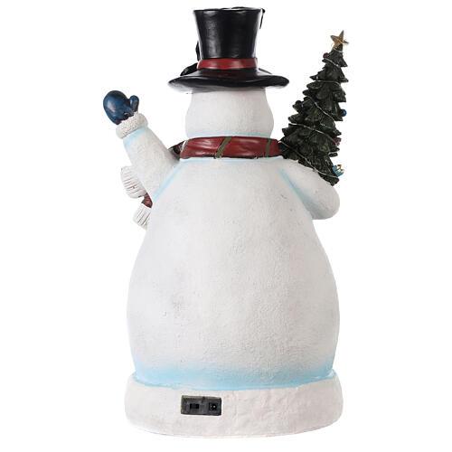 Bonhomme de neige Noël piste patinage et train 45x20x25 cm 5